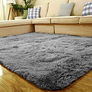 coofig Super Soft Indoor Modern Thickened Washing Silky Smooth Fur Rugs Anti-Skid Shaggy Rugs Dining Room or Bedroom Carpet Floor Mat 4- Feet by 5- Feet (Grey) …