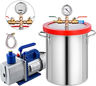 Bestauto 3 Gallon Vacuum Degassing Chamber Kit Stainless Steel Degassing Chmaber 18L Vacuum Chamber with 2 Stage 7CFM Pump - Not for Wood Stabilizing