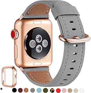 WFEAGL Compatible iWatch Band 40mm 38mm,Top Grain Leather Band with Rose Gold Adapter(the Same as Series 5/4/3 with Gold Aluminum Case in Color)for iWatch Series 5 /4/3/2/1(Gray Band+RoseGold Adapter)