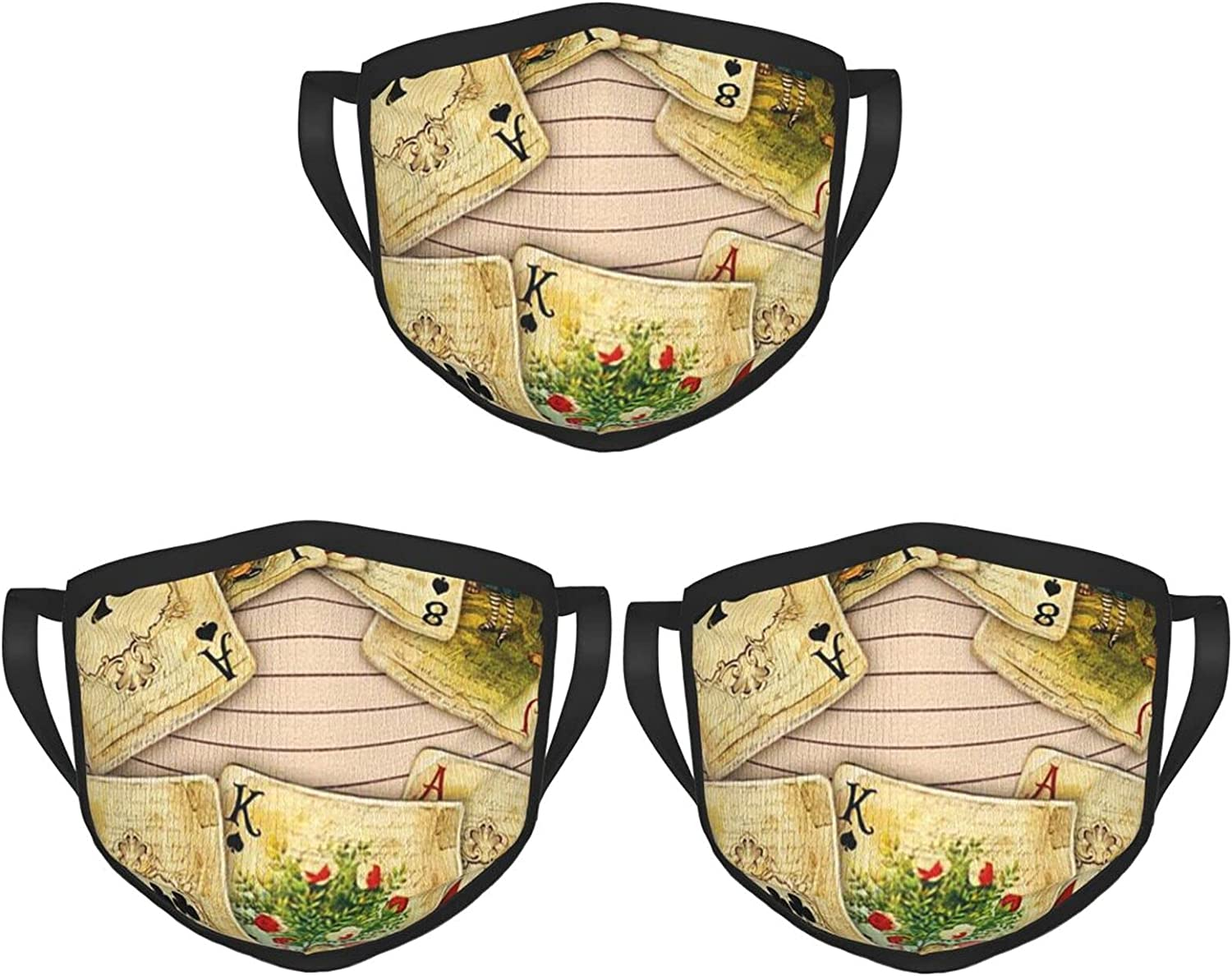 Balaclava Earmuffs Vintage Playing Cards Alice Wonderland Face Mouth Cover Mask Reusable Windproof Scarf Towel Cover Headwrap