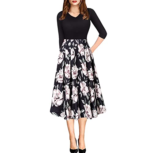 70ea96541040 Women Vintage Casual Swing 3 4 Sleeve Patchwork Floral Midi Dress with  Pockets for Work