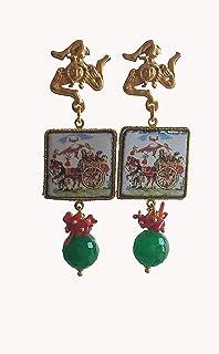 Orecchini Siciliani con Mattonelle in Ceramica di Caltagirone e Agata Verde