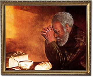 African American Black Man Praying at Dinner Table Daily Bread Religious Wall Picture Gold Framed Art Print