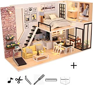 KISSTAKER Dollhouse Miniature Kit-Mini DIY Wooden Loft House with Furniture,Dust-Proof Cover,Music Movement,Assemble Tool,1:24 Scale for Teens Adults