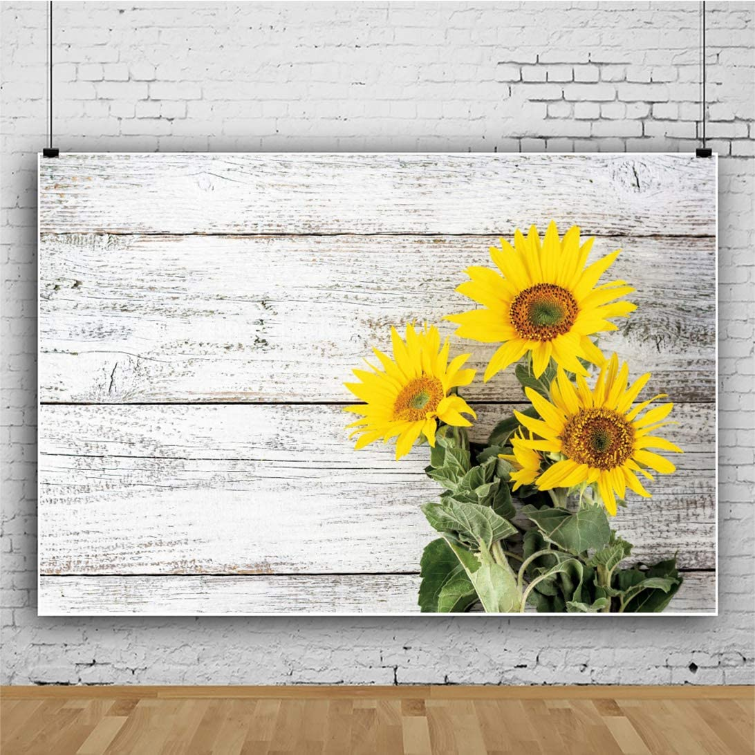 DORCEV 8x6ft White Rustic Wood Wall Backdrop for Birthday Party Baby Shower Photography Background Rural Wooden Board Floor Sunflowers Bridal Shower Party Portraits Photo Studio Props