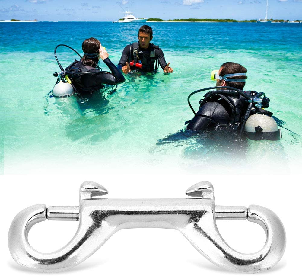 Ruiqas Double Ended Snap Hook Silver Durable Stainless Steel Double Ended Clip Hook Bolt Snap Scuba Diving Buckle