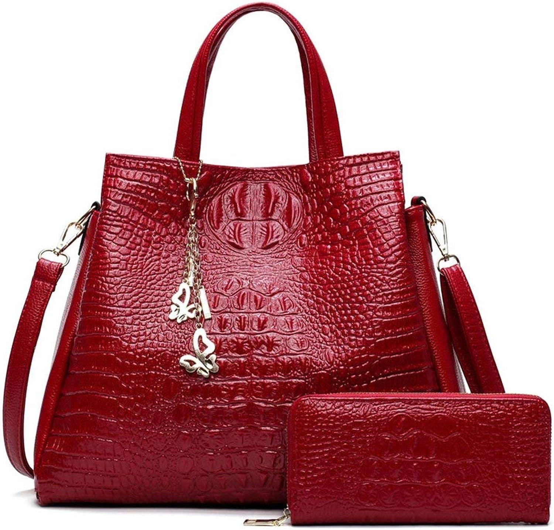 Isabelvictoria Fashionable Women Large Capacity Composite Bag Simple Soft PU Leather Crocodile Pattern Messenger Bag Single Shoulder Bag - Red