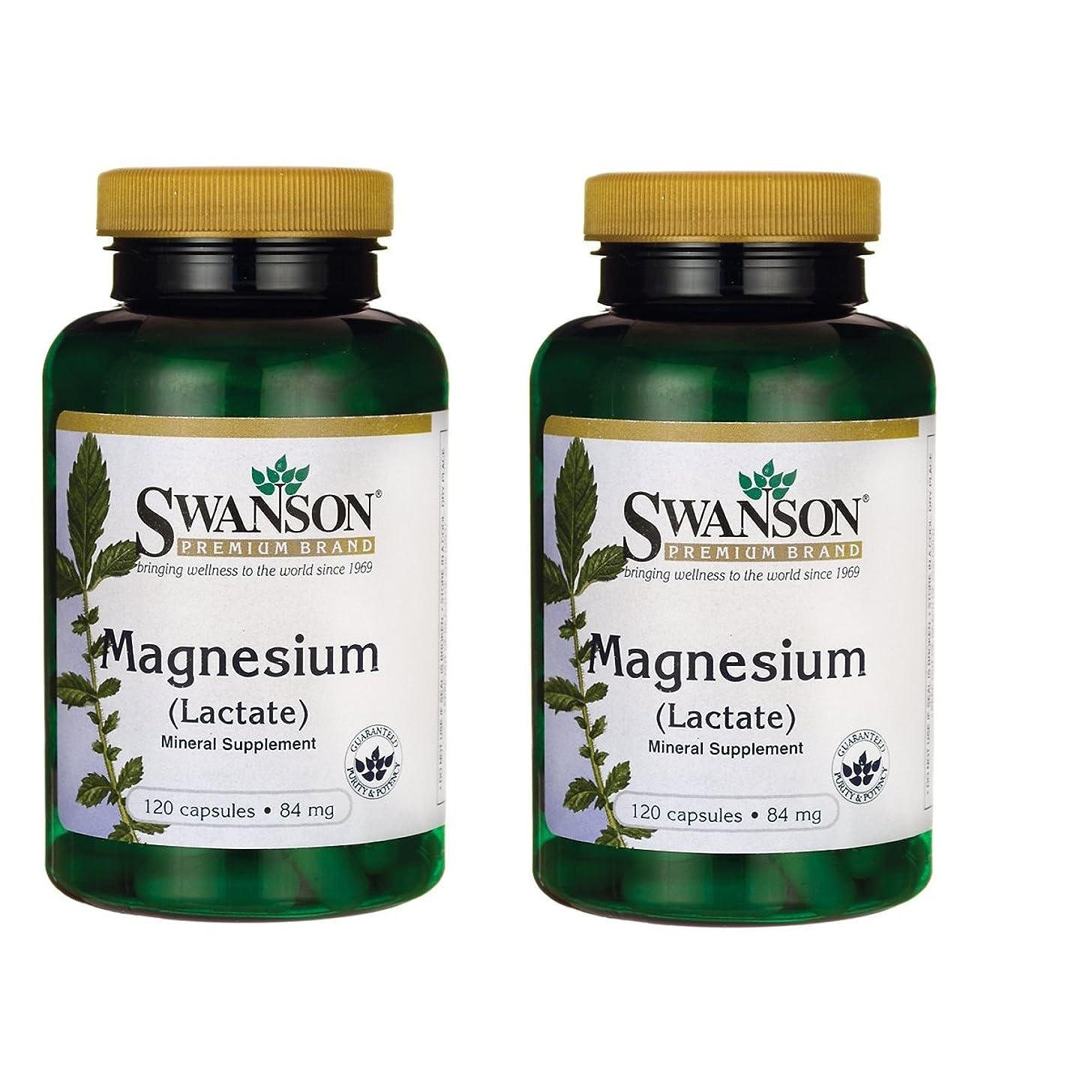 Swanson Magnesium (Lactate) 84 Milligrams 120 Capsules 2 Pack