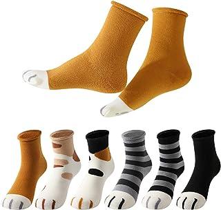 Calcetines de Mujer, 6 Pares Calcetines Algodón divertidos de Gato Cartoon Gruesos Térmicos,Transpirables para invierno.Ideal para usos diarios, regalo de Navidad, cumpleaños,etc