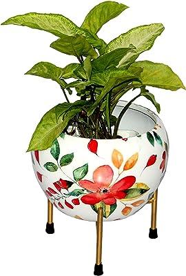 DreamKraft Desk Planters, Color: White Floral (Flower Pot with Stand, 12x12x16 cm)