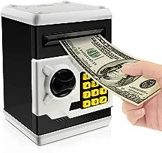 Jhua Cartoon Piggy Bank Password Electronic Money Bank Safe Saving Box ATM Bank Safe Locks Panda Smart Voice Prompt Money Piggy Box for Children (Black)