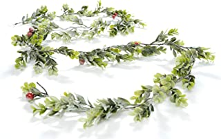 CraftMore Snowy Boxwood Garland with Red Berries 70 Inch