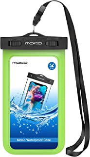 MoKo Waterproof Phone Pouch, Underwater CellPhone Case Dry Bag with Lanyard Armband Compatible with iPhone 11/11 Pro Max, X/Xs/Xr/Xs Max, 8/7/6 Plus, Samsung S10/S9/S8 Plus, S10e, A10E, Note 10, Green