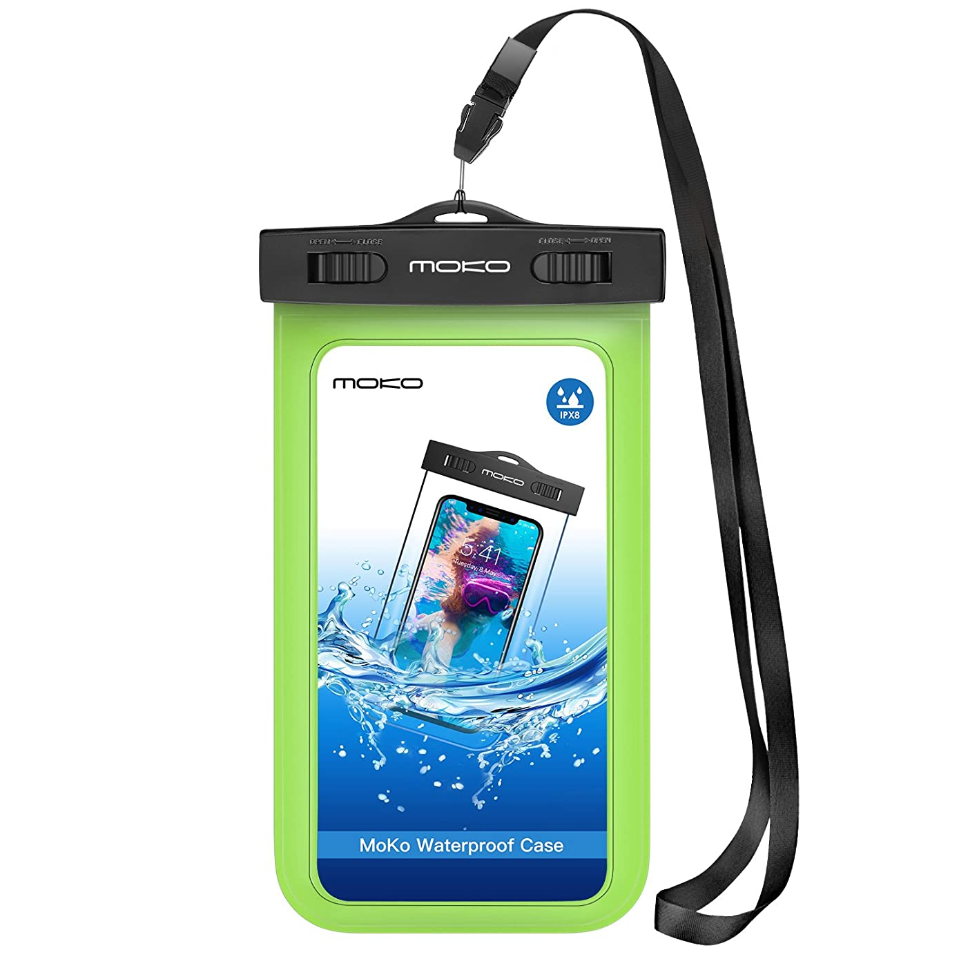 MoKo Waterproof Phone Pouch, Underwater Waterproof CellPhone Case Dry Bag with Lanyard Armband Compatible with iPhone X/Xs/Xr/Xs Max, 8/7/6s Plus, Samsung Galaxy S10/S9/S8 Plus, S10 e, S7 edge, Green