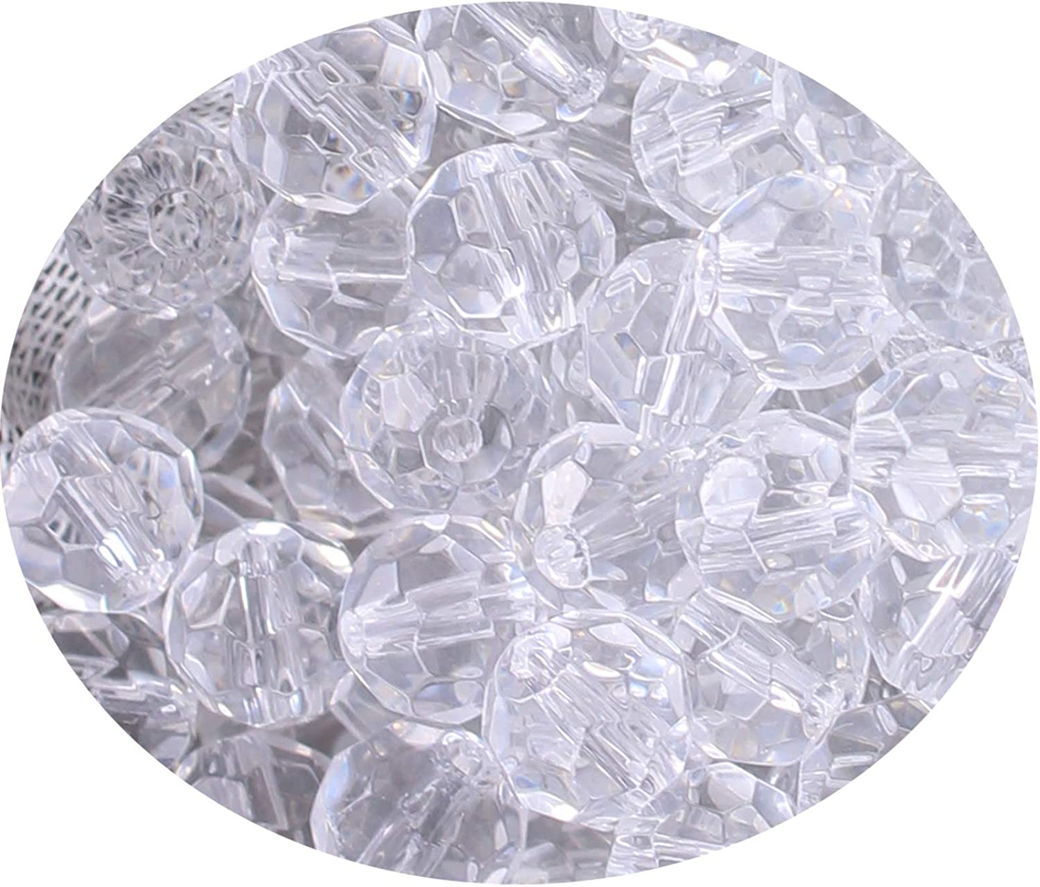 Faceted Clear Glass Crystal Rondelle Bead