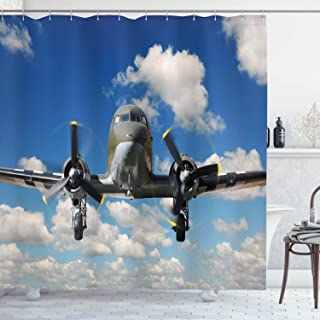 (180cm W By 210cm L, Multi 8) - Ambesonne Aeroplane Decor Collection, Old C-47 Aeroplane Landing During Sunny Bright Day A...