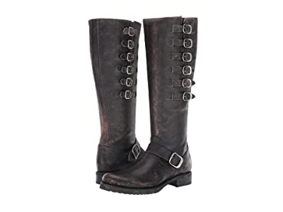 Frye Veronica Belted Tall (Black Brush Off Full Grain) Women