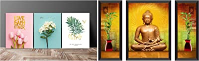 SAF Love Flower Designer Multi-Effect Up Textured Panel Painting (Set of 3, 12 Inches X 27 Inches (Sanfc12218) & Buddha Religious Painting (Synthetic, 28.5 Inch X 19.5 Inch, Set of 3) Combo