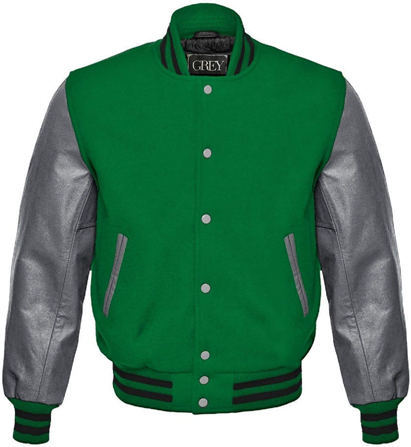 GREY Brand Varsity Jacket, Wool Body with Leather Arms Letterman Baseball Unique & Stylish (7XL) (XS, Royal Blue-White/Red Strips) (5XL, Green-Grey)