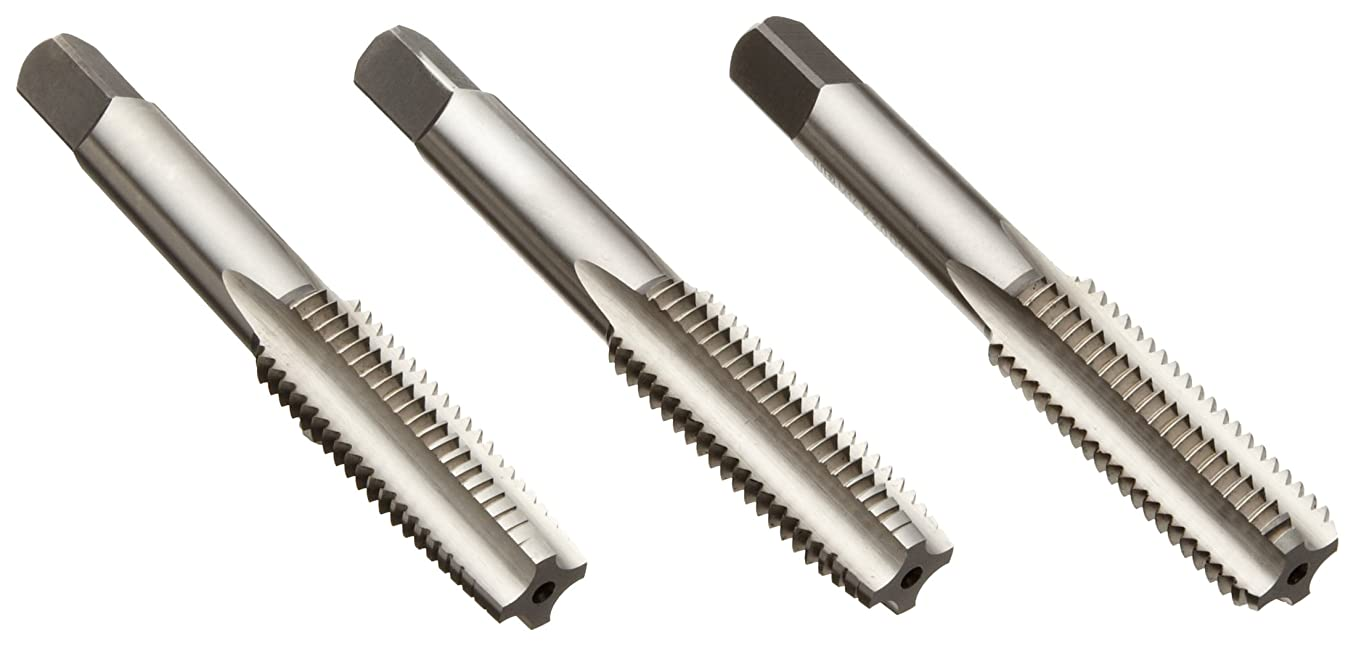 Union Butterfield 1700S High-Speed Steel Hand Tap Set, Uncoated (Bright) Finish, Round Shank with Square End, 3-Piece Set (1 Taper, 1 Plug, 1 Bottoming Chamfer), M6-1.00 Thread Size