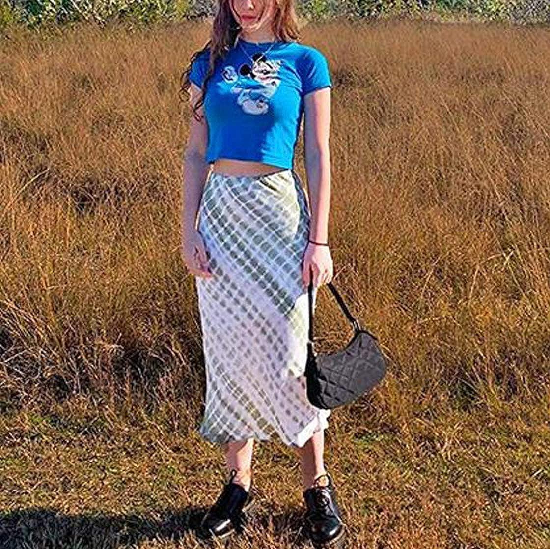 Harajuku E-Girl 90S High Waist Tie-dye Midi Skirt,Y2K Vintage Slim Fit Green Printed A-Line Gothic Skirt Clothes