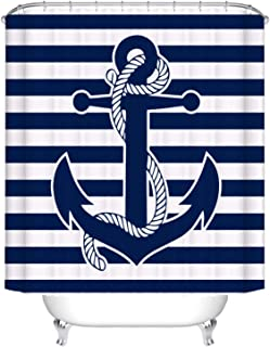 Fangkun Shower Curtain Decor Set - Seascape Boat Anchor with Rope Blue Stripes Art Print - Polyester Fabric Waterproof Bathroom Curtains - 12PCS Hooks - 72 x 72 inches