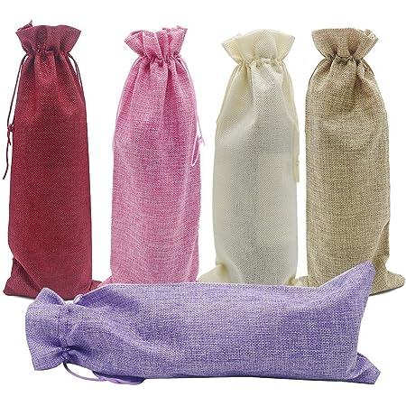 ottimo regalo per festa di amici set di 7 sacchetti regalo per bottiglie di vino in iuta con apribottiglie e pluriball BSSN Sacchetti di iuta con coulisse