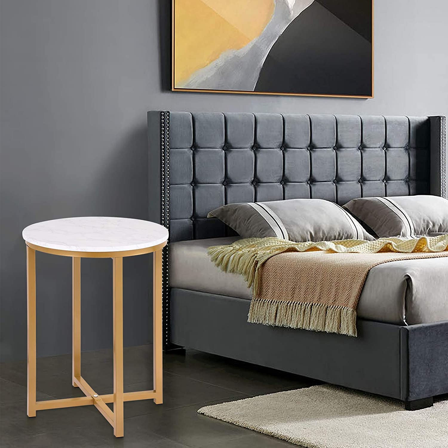 Spasm price Modern Faux Marble Low price Round Accent Table Side for X Base with