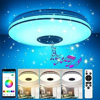 Lámpara de techo LED regulable 36W, GGHKDD 2 cables plateados lámpara de techo estrella APP control remoto altavoz bluetooth, lámpara de dormitorio lámpara de habitación de niños lámpara de sala
