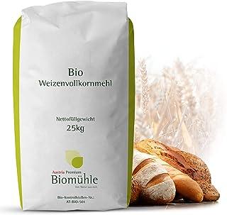 Bio Weizen-Vollkorn-Mehl 25kg | Hochwertiges Mehl - gentechnikfrei und pestizid-kontrolliert | Ideal zum Backen von Brot und Brötchen