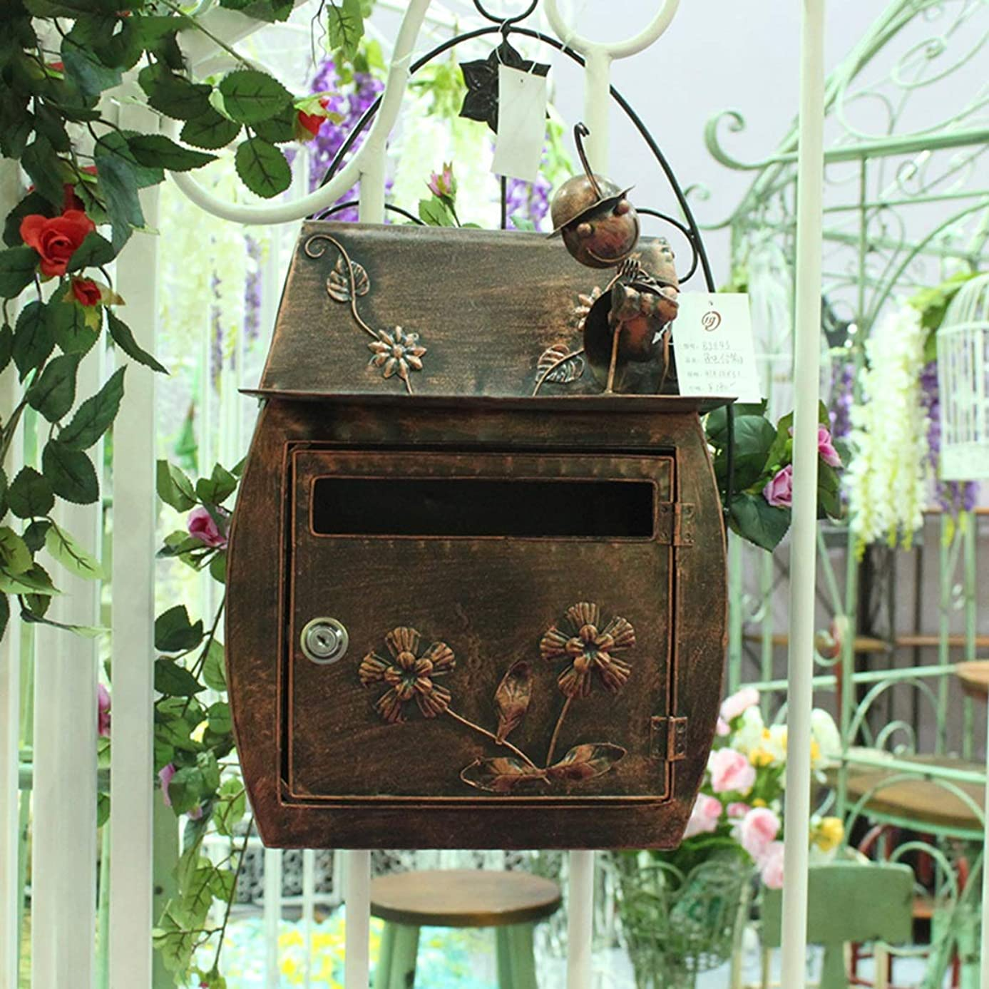 Fly European Classical Villa Mail Box Pastoral Retro Wall with Lock Letter Box Mailbox Waterproof Outdoor Mailbox Mailbox