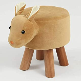 Foot Stool Animal Shaped Ottoman,upholstered Pouffe Tray Ride-on Footrest Stool Solid Wood Padded Seat Bench MUzoo