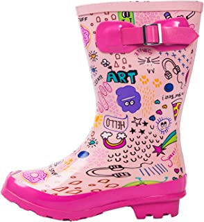 AMAWEI Kids Rain Boots for Boys Girls Toddler/Little Kids/Big Kids Rubber Waterproof Garden Shoes