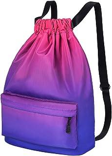 Men Women Drawstring Backpack Chic School Shoulders Bag Classic Travel Drawstring Bag Trendy Drawstring Sackpack Casual Ou...