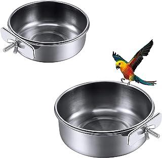 Mangiatoia per Alimenti 12 Pezzi Ciotola per Acqua per Cibo per Uccelli per Cereali o Acqua e Ciotole per lalimentazione degli Uccelli Possono Essere Appese in Gabbia Ciotola per Cibo per Uccelli