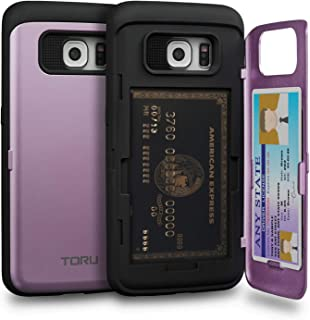 TORU CX PRO Galaxy S6 Edge Wallet Case Purple with Hidden Credit Card Holder ID Slot Hard Cover & Mirror for Samsung Galaxy S6 Edge - Lavender