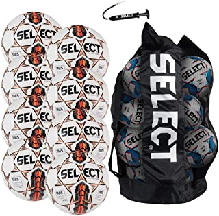 Select Target DB Soccer Ball Package - Pack of 8 Soccer Balls with Duffle Ball Bag and Hand Pump, White/Orange, Size 5