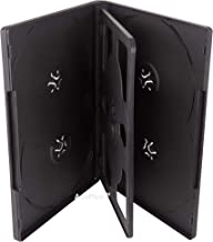AcePlus 10 Multi-6 DVD Cases - Standard 14mm for 6 Discs with Black Overlap Trays and Clear Outer Sleeve