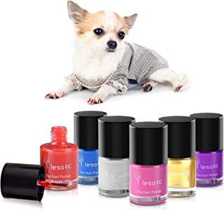Dog Nail Polish Set, 6 Color Set (Pink, Purple, Red, Gold, Blue, Silver), Non-Toxic Water-Based Pet Nail Polish, Natural and Safe, Suitable for All Pet (Birds, Mice, Pigs and Rabbit), Easy to Remove
