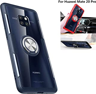 Huawei Mate 20 Pro Case,360° Rotating Ring Kickstand Protective Case,TPU+PC Shock Absorption Double Protection Cover Compatible with [Magnetic Car Mount] for Huawei Mate 20 Pro Case (Navy/Silver)