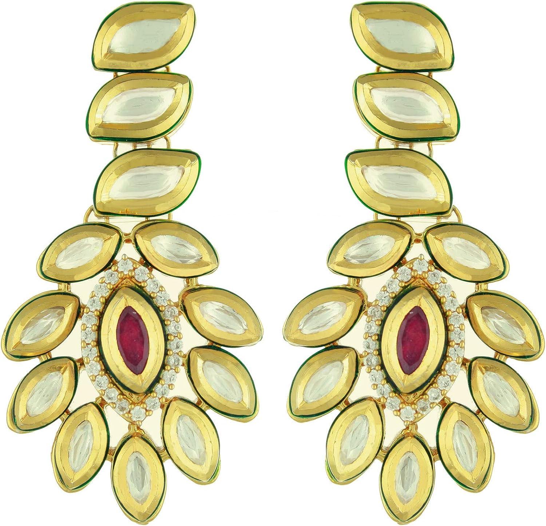 Babosa Sakhi Exclusive Ruby Embedded Precious Kundan Ethnic Earring
