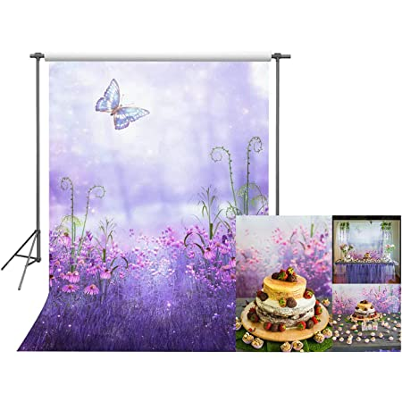 Lavender 7x5 FT Vinyl Photo Backdrops,Bunch of Lavender and Poppy Flowers Fresh Rustic Botanical Bouquet Background for Child Baby Shower Photo Studio Prop Photobooth Photoshoot