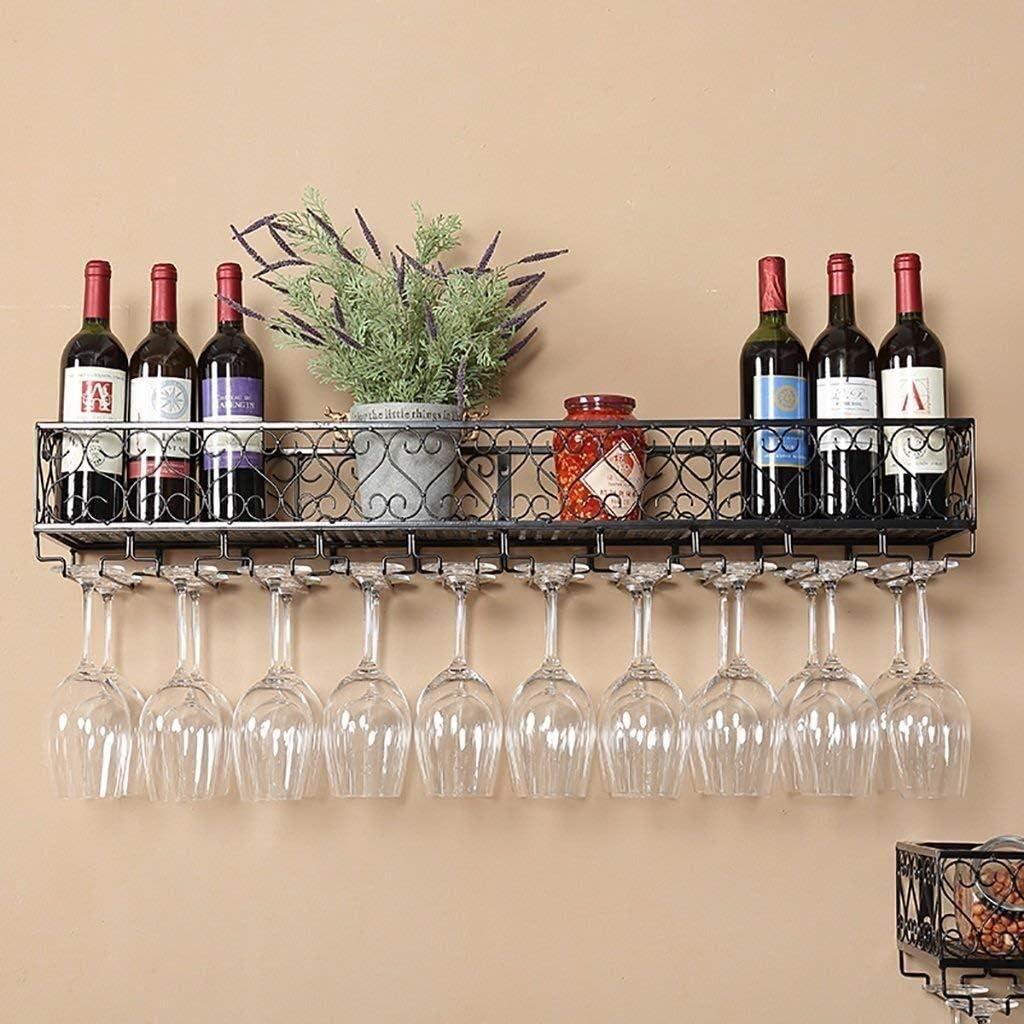 YZ-YUAN Gabinetes de Vino de Hierro multifunción para Montaje en Pared, botelleros, Bares, Salas de Estar, hoteles, restaurantes, decoración, Almacenamiento en estantes (tamaño: 60 * 25 cm)