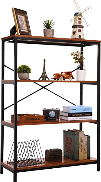3 Shelf Bookcase Bookshelf Industrial Style Metal And Wood Bookshelves Open Wide Home Office Book Shelf