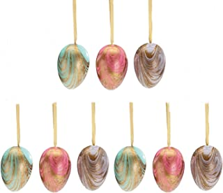 Marbled Pastel Hand Painted Colored Easter Egg Home Decor Ornament Assortment, 9 Pack