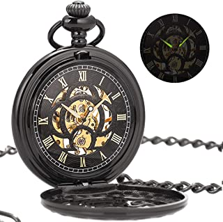 Vintage Black Mechanical Hollow Hunter Hand Wind Pocket Watch Luminous Pointer with Chain for Men + Gift Box