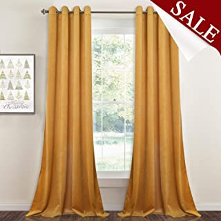 Light Blocking Velvet Curtains 108-inch - Extra Long Thick Velvet Large Window Drapes Soft Smooth Hands Feel Sound Lower Privacy Panels for Hotel/Villa, Warm Yellow, 52 x 108 inches, 1 Pair