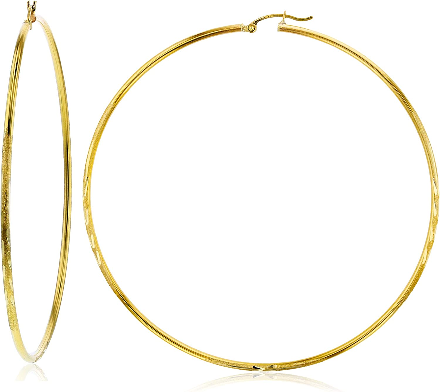 14k Yellow or Limited time trial price Max 60% OFF White Gold 2mm Diamond Solid Hoop Polished Cut Ear