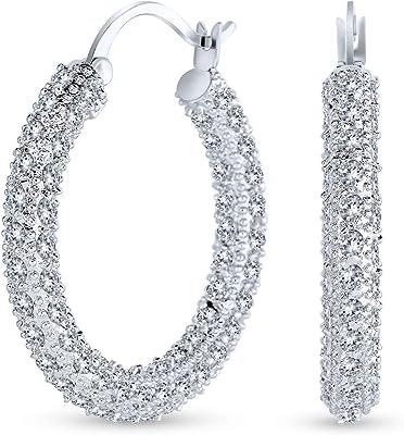 Orecchini a cerchio da sposa cubici Zirconia Pave CZ Encrusted Prom Statement per donna argento placcato ottone 1.3 Dia