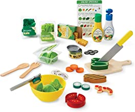 Melissa & Doug Slice & Toss Salad Set (Pretend Play, Self-Stick Tabs, Reusable Double-Sided Menu, 52 Pieces, 12″ H × 16″ W × 3.5″ L, Great Gift for Girls and Boys - Best for 3, 4, 5 Year Olds and Up)